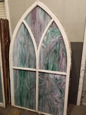 Antique Arched Slag Glass Windows Architectural Salvage