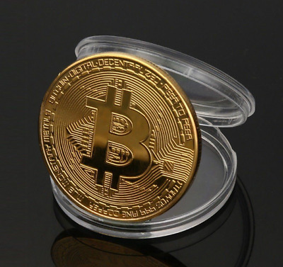 1PCS Gold Bitcoin Commemorative Round Collectors Coin Bit Gold Plated Coin Gifts
