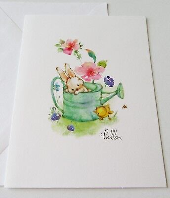 Unused Blank Note Card Mary Hamilton Bunny in Watering Can with Chick & Flowers