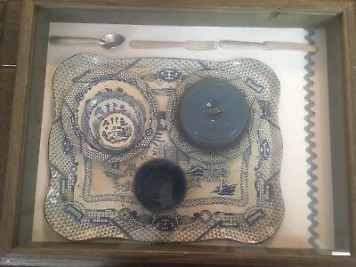 VTG 50s Toy Kitchen Items in Shadow Box Blue Willow Plates Cup Tray + Silverware