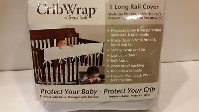 """Trend Lab Fleece CribWrap Rail Cover for Long Rail, Gray, Wide Size 8-18"""" NEW"""