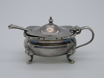 Silver Plated Mustard Pot, Liner & Onslow Scalloped Salt Spoon