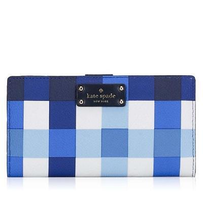 NWT  KATE SPADE GROVE STREET PRINTED STACY PACIFIC GINGHAM WALLET NEW blue white