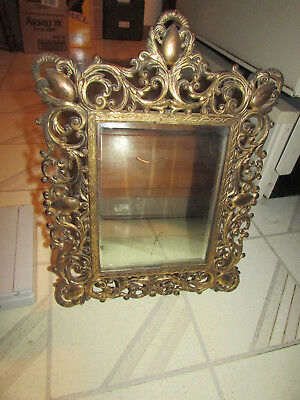 ANTIQUE & ORNATE Mirror Picture Frame Heavy Beveled Glass 6 lbs. Metal  w/Easel