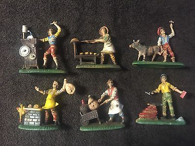 6 Vintage Contecatini Italy Hard Rubber Figurines Donkey,bread,butcher,brick Ect