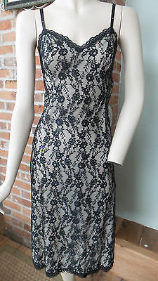 Vintage Black Lace Slip lined / Dress by Van Raalte Size 32