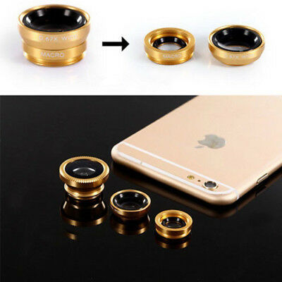 3in1 Fish Eye+Macro+Wide Angle Clip On Camera Lens Kit For iphone Samsung UStock