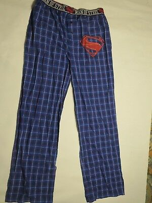 Superman Blue Plaid Pajama Lounge Pants Mens Womens NEW Man of Steel-l or xl