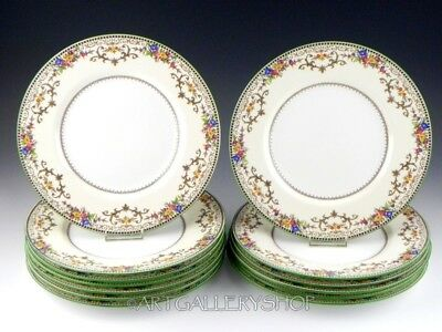 Vintage Minton England SHAFTESBURY DINNER PLATES SET OF 13 Green Trim