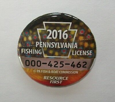 Pa Pennsylvania Fish Boat Game Commission 2016 Metal Fishing Button License Pin