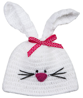 Plush Pink and White Baby Bunny Knit Hat