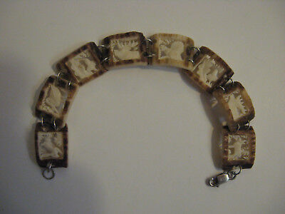 Vintage Staghorn Antler Bracelet Symbolic Black Forest Hunt Wildlife Hand Carved