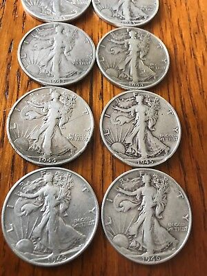 lot of 10 Sliver Walking Liberty half dollars  1917 to 1946 no reserve