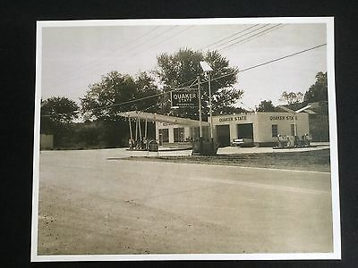 Vintage 1950s Quaker State Products Gasoline Gas Oil Service Station Photo Print