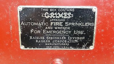 Extremely Unique Grimes Antique Vintage Fire Sprinkler Supply Box with 6 Heads