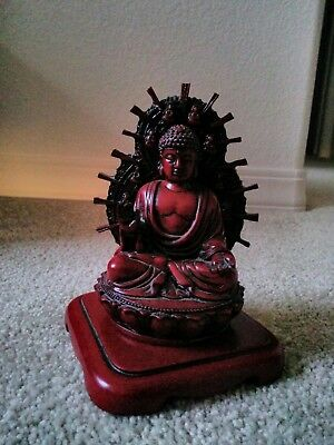 "Buddha Statue with separate base from Vietnam 5"" H, base 4 1/4"" square"