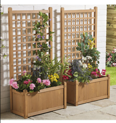 Pair Large Wooden Garden Planters Box Trellis Planter New Collect Only Cw1