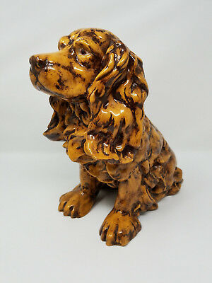"Vintage COCKER SPANIEL Hand Painted Ceramic Figurine LARGE 12"" Beautiful RARE"