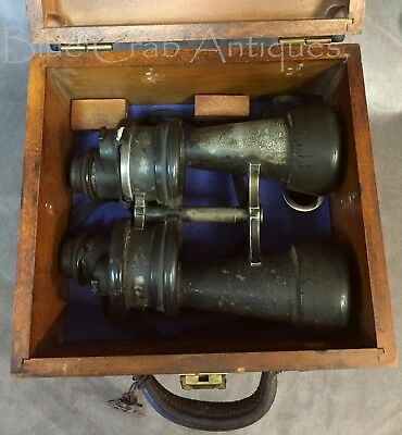 WW2 German Kriegsmarine U-Boat U-Boot Leitz Wetzlar 7x50 Binoculars in Box Case