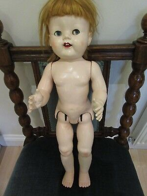 """LARGE VINTAGE TALKING DOLL 1950's  21""""    MADE IN  ENGLAND"""