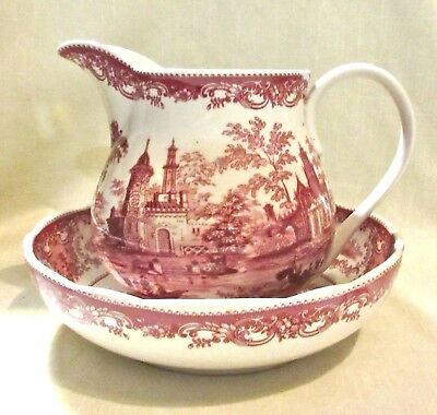 Vintage Red Castle Willow Transferware Ceramic Pitcher and Bowl