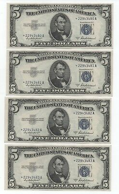 Lot  Of  Four  1953 A $5  Silver  Cert- Uncirculated   Star  Notes  In  Sequence