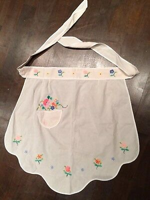 Vintage Cotton Ladies Half Kitchen Apron Hostess Pinny 50s 60s Embroidered Dress
