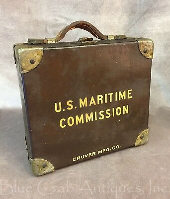 WWII US Maritime Commission Curver Lifeboat Sextant Navigation Kit