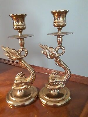 Solid brass candlesticks, Dolphin style.  Very good condition.
