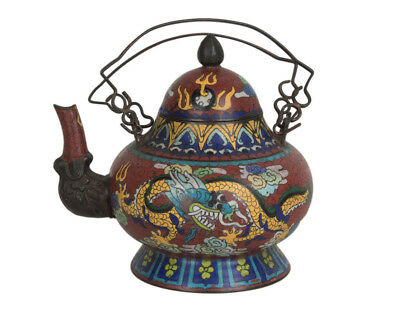 China 20. Jh. Teekanne -A Chinese Bell-Shaped Cloisonné Enamel Teapot - Chinois