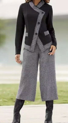 sz 16W  TWEED DREAM GAUCHO PANT SET Monroe & Main 2-Piece Career Business Church