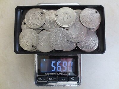 LOT of 20pcs. LARGE SILVER OTTOMAN TURKISH TURKEY ISLAMIC COINS RARE 56.9 gram