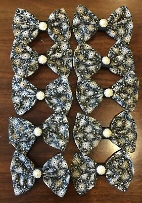 10 Wholesale Black and white pearl Hair Bows **Made in the USA **