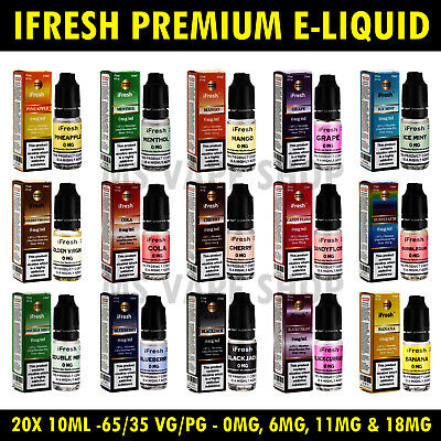 iFresh E-Liquid Cigarette Oil Vape Juice 200mI (20 x10ml) -0mg,6mg,12mg & 18mg