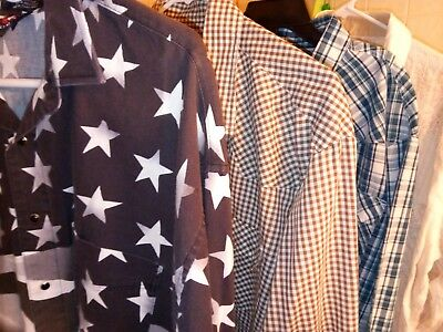 Men's lot of 5 XL premium Western style cowboy shirts with pearl snap buttons.