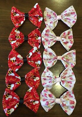 10 Wholesale Large Bumble Bees & Heart Valentine Hair Bows **Made in the USA **