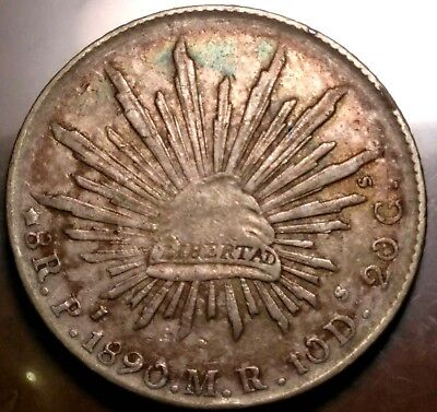 1890 Pi MR Potosi Mint Mexico Cap & Rays 8 Reales ~ Great Colorful Toning