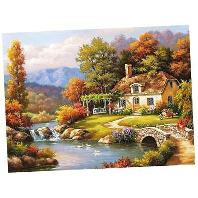 Frameless DIY Digital Oil Painting By Number Kit Canvas Paint Forest Cottage