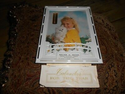 Vintage Plastic 1967 Calendar Girl W/ Cat Advertising Thermometer