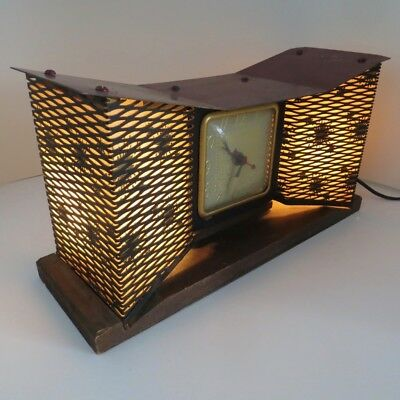 Vintage 1950s United Mid Century Modern Bow Tie Clock and Lamp Light Model 340