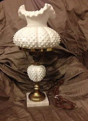 Vintage Fenton Milk Glass Hobnail Student Lamp With Ruffled Shade Top Antique