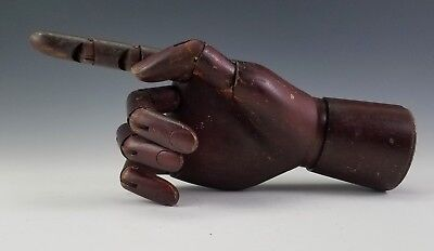 ANTIQUE EARLY 20th C. CARVED WOOD ARTICULATED HUMAN HAND MODEL STORE DISPLAY ART