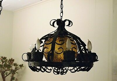 Large VINTAGE Wrought IRON Amber Glass CHANDELIER Spanish Gothic Medieval/Tudor