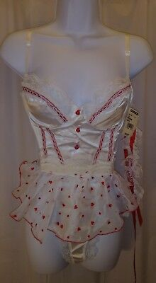 Women's Arianne Sexy Teddy Lingerie Valentine's day White with red hearts