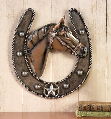 Western Horseshoe Country Star Rope Trim Horse Head Wall Hanging Home Decor