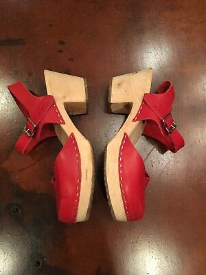 Lotta from Stockholm Swedish Clogs, Red Leather, High Heel, Size 40