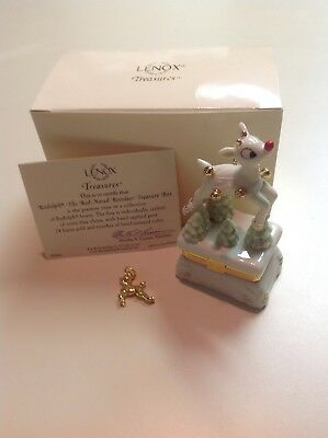 Lenox Rudolph the Red Nosed Reindeer Treasure Box W/Papers & Charm