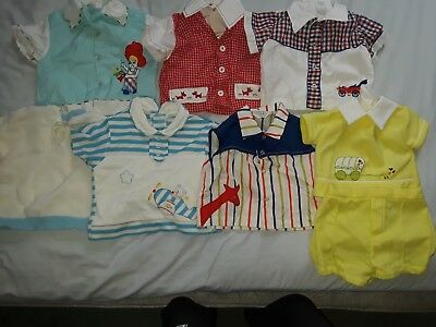 7 Pc Lot 70s Vintage Baby Boy Girl Shirts Tops Size 6-12 Months