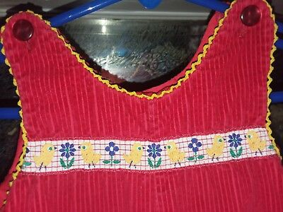 1971 vintage Cute little red overalls with EMBROIDERED chicks by Mischief~6*12 m