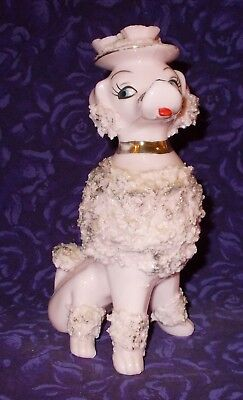 """Vintage Pink Spaghetti Poodle Wearing Flowered Hat 7"""" Tall"""